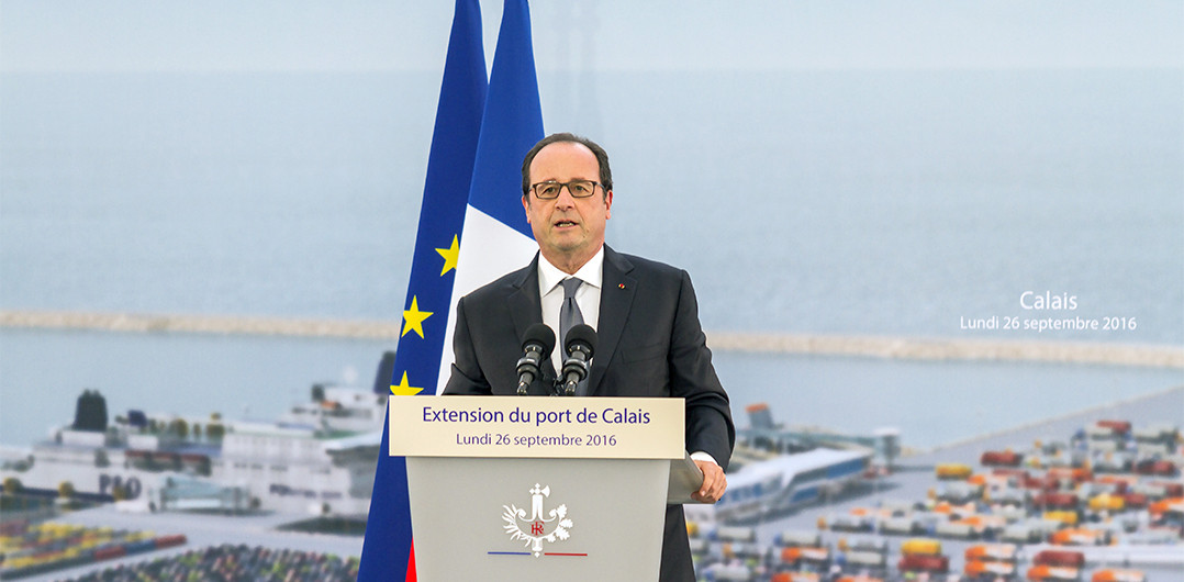 President François Hollande's speech during Calais Port 2015 foundation stone-laying ceremony
