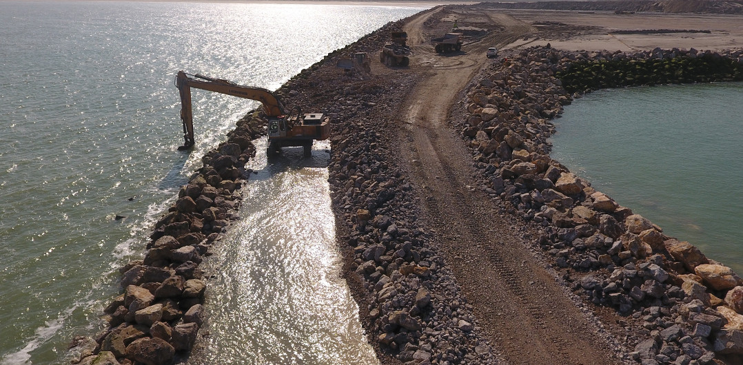 Works on section 3 of the breakwater
