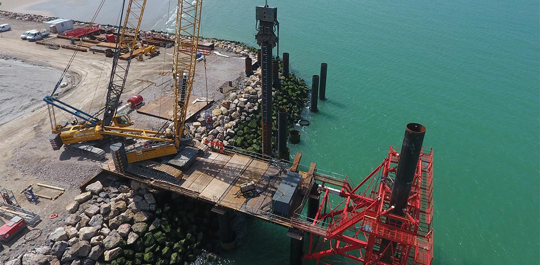 Pile driving activities at P10 berth